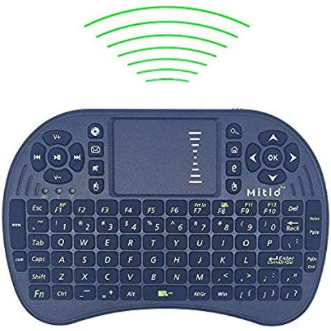 Mitid 2.4GHz Mini drahtlose Tastatur mit Touchpad For PC, Laptop, Raspberry Pi 2, MacOS, Linux, HTPC, IPTV, Google Android Smart TV Box, XBMC (Schwarz)
