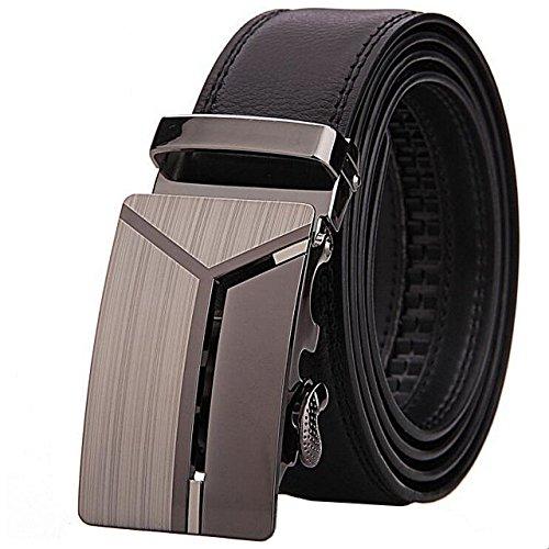 Herren Leder-Gürtel mit Automatikschnalle | kürzbar | 3,5cm breit | Ratschenverschluss | schwarz | Rindsleder (120cm, Delta)
