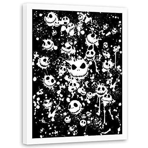 carowall CAROWALL.COM Bild mit weißem Rahmen King of Halloween Wanddeko Schwarz 40x60 cm