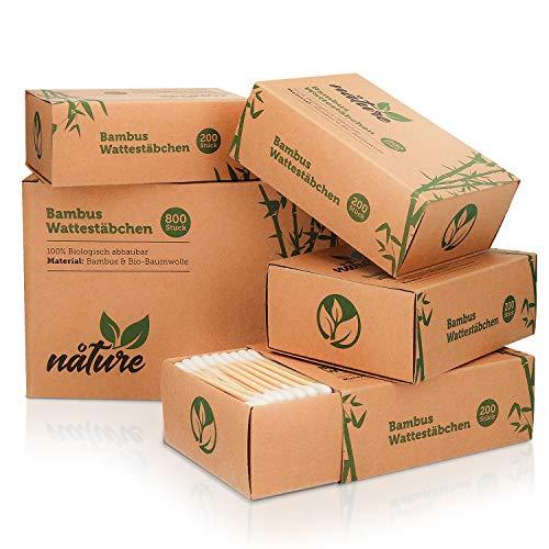 nåture Bambus Wattestäbchen 800 Stück (4x200 Pack) Vegan, 100{eb0b063cd291a9ddcb3fdcaf39dfaba1aa8b40dcacb79852afdbdd53e71b7e24} biologisch abbaubare Ohrenstäbchen, kompostierbar und zu 100{eb0b063cd291a9ddcb3fdcaf39dfaba1aa8b40dcacb79852afdbdd53e71b7e24} nachhaltig produziert