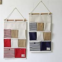 Comparador de precios Cuelgue la bolsa admisión creativa moderna ropa de algodón, costura 8 de montaje en pared que admitir bolsa diseñada en varios pisos casa de bolsa bolsa de almacenamiento de pared ,35*50CM, rojo - precios baratos