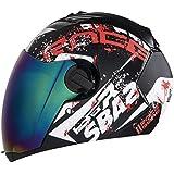 Steelbird SBA-2 Race Full Face Helmet in Matt Finish With Chrome Visor (Medium 580 MM, Matt Black/White)