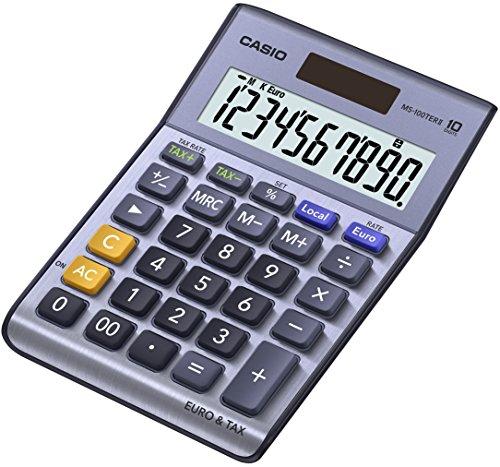 Steuern 2 Spielen (CASIO MS-100TER II Tischrechner kompakt mit Metallfront blau, 10-stelliges Display, Steuer-Berechnung, Euro-Umrechnung)