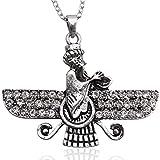 Groß Silber PT doppelseitig Kristall Farvahar faravahar Halskette Kette iranischen Persischen Geschenk, silber, Large