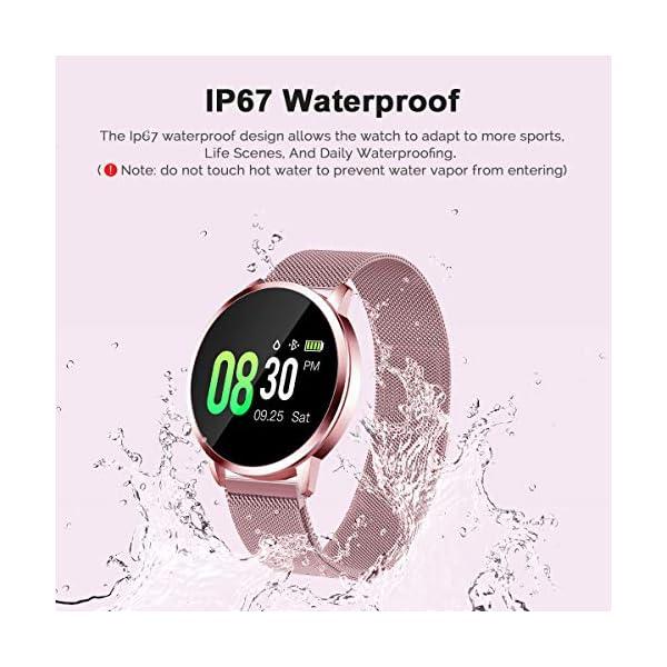Smartwatch Mujer Rosa Impermeable Reloj Inteligente Elegante Fitness con Monitor Impermeable IP67 con Monitor de Sueño Pulsómetros Podómetro Contador de Caloría Compatible con iOS Android 9