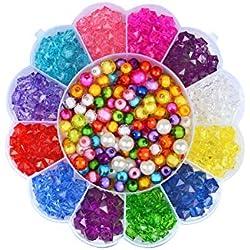 Beito Perles de Bricolage définir différents Types et de Formes Perles acryliques colorés pour Enfants Collier et Bracelet Crafts amblyopie Formation en Acrylique Bricolage Perles 1Régler Style-1