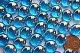 70g Mini Glasnuggets 10-12mm blau irisierend transparent ca. 50 St.