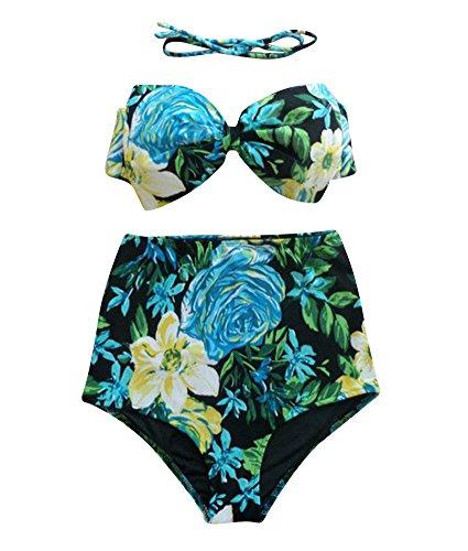 Damen Neckholder Bikini Hochdrücken Mehrfarbig Bowknot Hohe Taille Großformat Rückenfrei Bademode Bikini Anzüge 12
