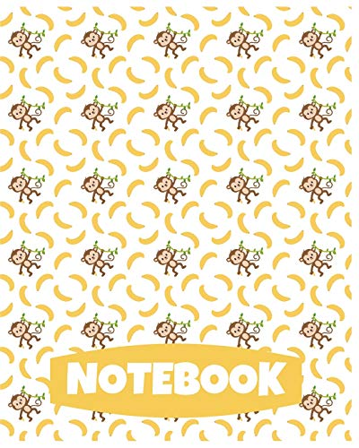 Notebook: Cute Monkey Notebook/Journal for Adults/Children Animals Lovers to Writing (8x10 Inch. 20.32x25.4 cm.) Wide Ruled Lined Paper 120 Blank Pages (YELLOW&WHITE&BROWN&GREEN Pattern)