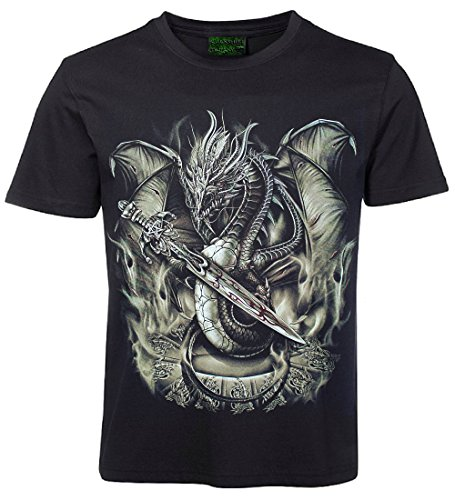 Biker T-Shirt Drache mit Dolch Größe L (Dolch Herren-t-shirt)