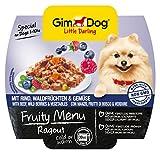 Gimdog Futter/Little Darling Fruity Menu Ragout mit Rind, Waldfrucht & Gemüse/Für Hunde bis 10 kg/Natürliches Hundefutter ohne künstliche Aromen & Farbstoffe/Hundenassfutter 800g (8 x 100g)