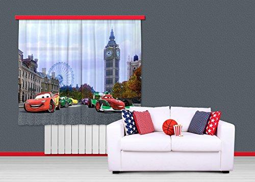 ag design fcs xl 4312 rideau voilage pour chambre d 39 enfant motif cars dis neuf ebay. Black Bedroom Furniture Sets. Home Design Ideas