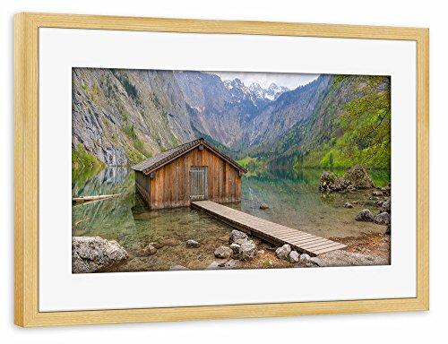 artboxone-poster-mit-rahmen-75x50-cm-natur-reise-obersee-braun-gerahmtes-poster-kiefer-wandbild-natu