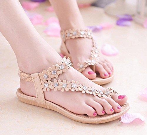 Floral Sandelholzfrauen Studenten Schnur Perlen Flip Sandalen Klippzehe bequeme flache Sandalen und Pantoffeln Pink