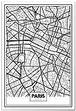 Panorama Poster Carte de Paris 21 x 30 cm - Imprimée sur Poster de Grande qualité - Poster Ville Noir et Blanc - Tableau Moderne pour la Maison - Décoration Murale - Affiche Vintage
