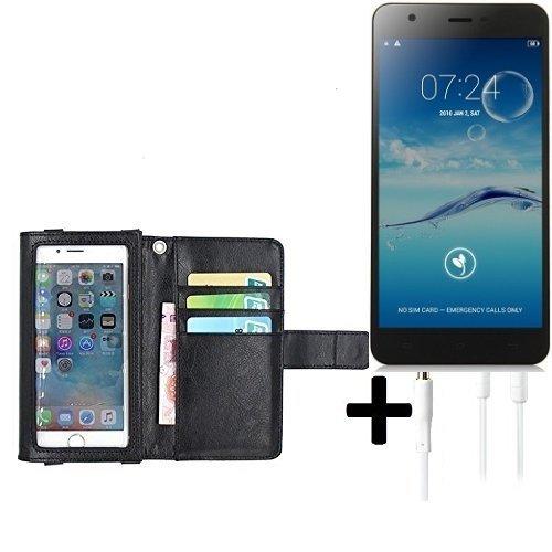 K-S-Trade TOP Set für Jiayu S3 BasicSchutz Hülle Case mit Displayschutz/Schutzfolie schwarz + Kopfhörer Flip Cover Wallet case Etui Hülle Für Jiayu S3 Basic