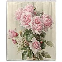 Tenda da doccia 152,4x 182,9cm, stile Vintage Shabby Chic Rosa Floreale, A prova di muffa poliestere tessuto bagno tenda