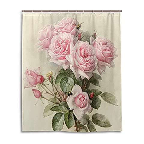 Bath Shower Curtain 60x72 Inch,Vintage Shabby Chic Pink Rose Floral,Mildew Proof Polyester Fabric Bathroom