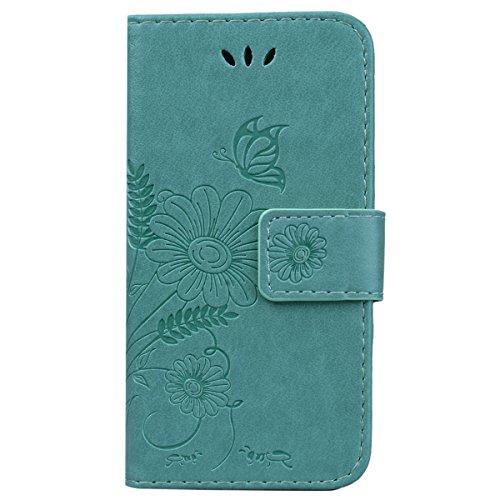 CE-Link Cover Apple iPhone 7, iPhone 7 Case Wallet Card Holder Protective Retro Funzione Stand Fiore e Farfalla, Porta Carte e Protettiva Flip Portafoglio Cover con Chiusa Magnetica per iPhone 7 - Gri Verde