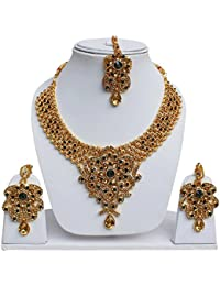 Lucky Jewellery Designer Golden Green Color Gold Plated Stone Necklace Set For Girls & Women