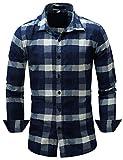 Pinkpum Homme Chemise en Coton à Carreaux Slim Fit Manches Longues Basic Business Loisirs M-3XL (Bleu 4, L)
