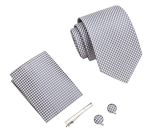 Men tie, Handkerchief, stickpin and Cufflinks fashion business gift box tie set (Grey woven)