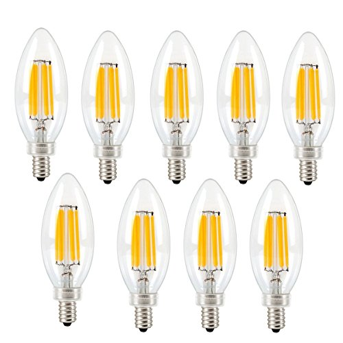 SUAVER 9 Pack 6 W Dimmbar LED Filament Kerze klar Glühlampe, E14 Boden C35 Vintage Edison LED Filament Glühbirne, 2700 K, warmweiß, 60 W Glühlampe Ersatz -