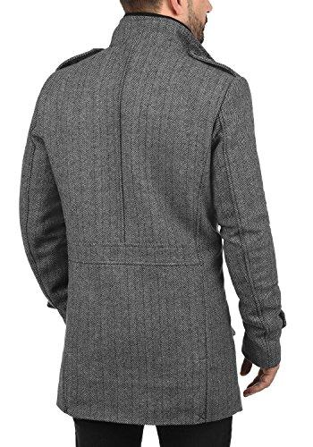 Indicode Brandan Herren Winter Mantel Wollmantel Lange Winterjacke mit Stehkragen, Größe:M, Farbe:Light Grey Mix (913) - 3