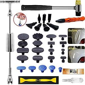 Randalfy Dellen Reparaturset Gleithammer Repair Set, Ausbeulwerkzeug Dellen Reparatur mit 21 Stück Klebel für DIY Fahrzeug Kühlschrank Waschanlage Dellen Entfernen Ausbeulwerkzeug