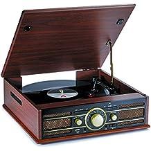 Bigben Interactive TD103 Madera tocadisco - Tocadiscos (3,5 mm, Corriente alterna, Madera, Madera, 425 mm, 385 mm)
