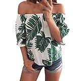 Malloom-Bekeidung Mode Frauen Schulterfrei Bl�tter Gedruckt Bluse Casual Tops T-Shirt Bild