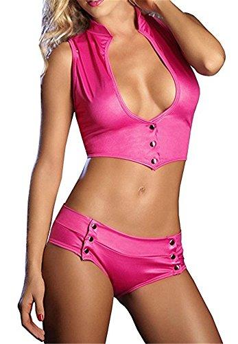 Befox-Donne-Sexy-Lingerie-Set-di-Brevetto-in-Pelle-Top-Stretto-E-Slip-Clubwear-Notte-Vestito-Club