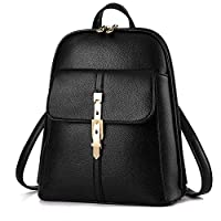 European American style women leather casual backpack multi-function travel bag schoolbag B1018 black