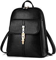 European American style women leather casual backpack multi-function travel bag schoolbag B1018 black