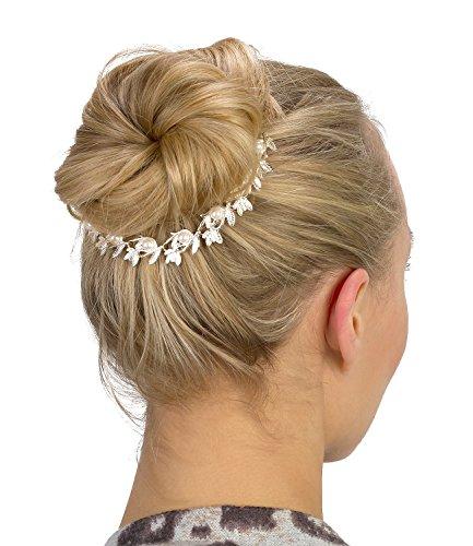 SIX Hochzeit Schmuck, silberne Haarkette, Dutt Spange, mit Blättern und Perlen (329-839)