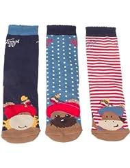 Toggi Niños Loretta Character calcetines (paquete de 3), azul/rojo/blanco, tamaño 10–3