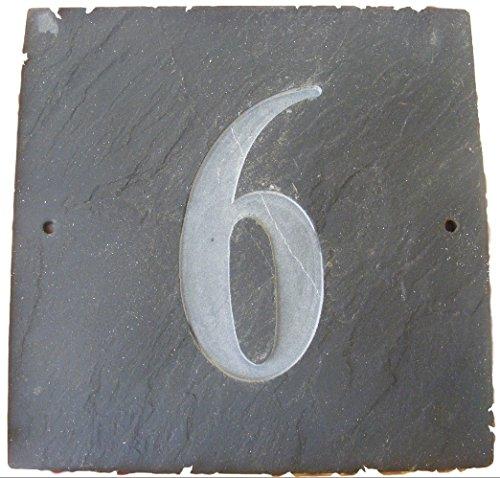 NUMBER 6 NATUREL GRIS ARDOISE NUMÉRO DE MAISON 15 x 15 CM PROFONDEUR PLAQUE GRAVÉE DE SURFACE NATURELLES UNE CRÉMAILLÈRE CADEAU (150 x 150 MM (N ° 6