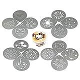 lofekea Barista Kaffee Schablonen, 16Edelstahl Kaffee dekorieren Schablonen Vorlage für Latte Cappuccino, Cupcake Cookie Schablonen