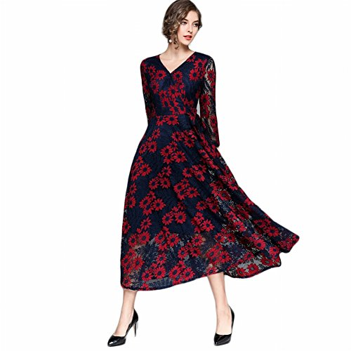 Good dress Langärmeliges Spitzenkleid Slim Temperament Primer a Line Rock , Preußischblau , 2XL