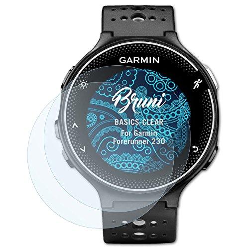 Bruni Schutzfolie für Garmin Forerunner 230 Folie, glasklare Bildschirmschutzfolie (2X)
