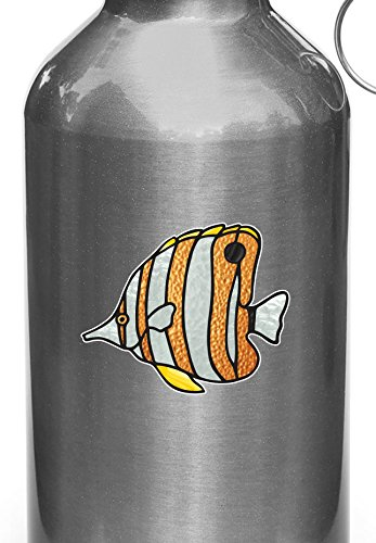 Tropical Fish - Copperband Butterflyfish - Stained Glass Style - Opaque Vinyl Decal for Reusable Water Bottles - Copyright (SM 3