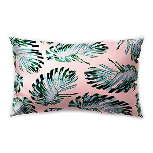 Blakww Plant Rectangle Cushion Cover Green Leaf Pink Maple Flowers Succulent Printing Double-Sided Soft Plush Pillowcase 30 x 20 inhces