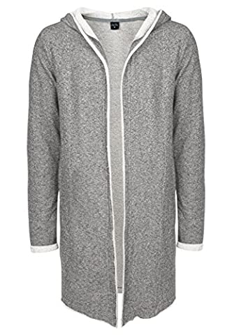 SUBLEVEL Sweat-Cardigan für Herren mit Kapuze | Offener Long-Cardigan mit Style aus Baumwolle | Der perfekte Streetwear-Look für jeden Mann middle grey
