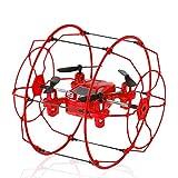 ILYO Mini Drone Flugzeug Toys Fernbedienung Drone Wall-Montierte Flugzeuge 2,4 G Fernbedienung Kletterwand Klettern Tumbling Feste Höhe Indoor-Und Outdoor-Flug 6-Achsen Gyros,Red