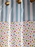 Homescapes Vorhang Kinderzimmer Ösenvorhang Kindervorhang Stars Multi 2er Set bunt 137 x 182 cm (Breite x Länge je Vorhang) 100% reine Baumwolle