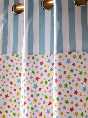 Homescapes Vorhang Kinderzimmer Ösenvorhang Kindervorhang Stars Multi 2er Set bunt 137 x 182 cm (Breite x Länge je Vorhang) 100% reine Baumwolle (Star Öse Multi)