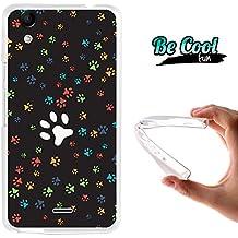 Becool® Fun - Funda Gel Flexible para Wiko Rainbow Up, Carcasa TPU fabricada con la mejor Silicona, protege y se adapta a la perfección a tu Smartphone y con nuestro exclusivo diseño. Huellas de Perro