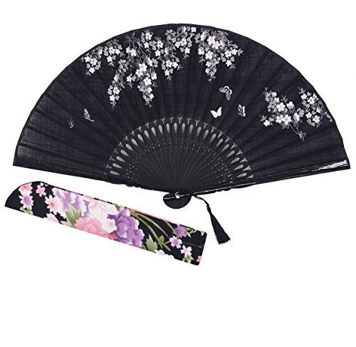 Sthuahe - Abanico clásico de seda para mujer tallado y pintado a mano, abanico chino/japonés, regalo de boda, para bailes, abanico de princesa, 21 cm, tela, negro