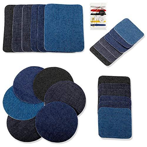 Thinkcase Patches zum aufbügeln, 24 Stück Patch Sticker Denim Baumwolle 4 Farben 4 Größen+1Stück Nähzeug für Jeans DIY Kinder Kleidung Reparatursatz