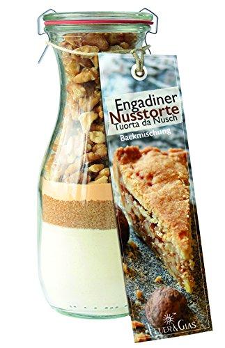 (Backmischung im Glas für Engadiner Nusstorte – Raffinierte Geschenkidee für Backfreunde – Backzutaten im Weckglas für die einfache Zubereitung – Gourmet Kuchen-Back-Mischung von Feuer & Glas)